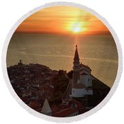 Setting Sun On The Adriatic Sea Behind Archangel Michael On Top  Round Beach Towel