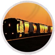 Setting Sun Reflecting Off Train And Track Round Beach Towel