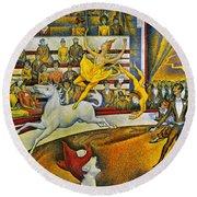 Seurat: Circus, 1891 Round Beach Towel