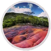 Seven Colored Earth In Chamarel. Mauritius Round Beach Towel
