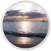 Seven Mile Beach Catamaran Sunset Grand Cayman Island Caribbean Round Beach Towel by Shawn O'Brien
