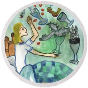 Seven Of Cups And Strange Dreams Round Beach Towel