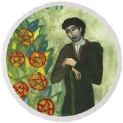 Seven Of Pentacles Illustrated Round Beach Towel