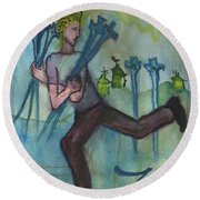 Seven Of Swords Illustrated Round Beach Towel