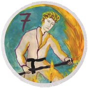 Seven Of Wands Illustrated Round Beach Towel