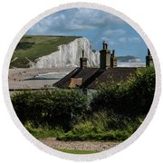 Seven Sisters Cottage Round Beach Towel