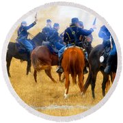 Seventh Cavalry In Action Round Beach Towel
