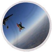 Several Military Freefall Parachutist Round Beach Towel