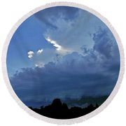 Severe Weather And Waxing Crescent Moon Round Beach Towel