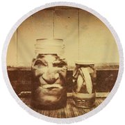 Severed And Preserved Head And Hand In Jars Round Beach Towel