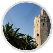 Seville - A View Of Torre Del Oro 2 Round Beach Towel