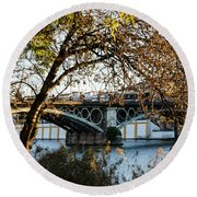 Seville - The Triana Bridge 2  Round Beach Towel