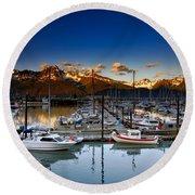 Seward Alaska Boat Marina Round Beach Towel