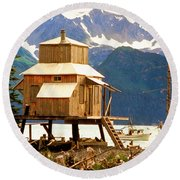 Seward Alaska House Of Stilts Round Beach Towel
