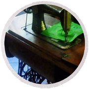 Sewing Machine With Green Cloth Round Beach Towel