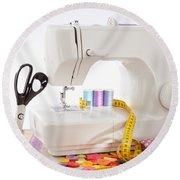 Sewing Machine With Many Sewing Utensils On A Wooden Box Round Beach Towel