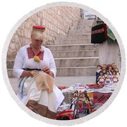 Sewing Souvenirs In Old Dubrovnik Round Beach Towel
