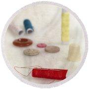Sewing Supplies Round Beach Towel by Joana Kruse