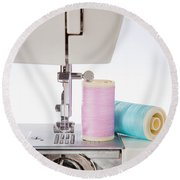 Sewing Threads In Pastel Colors And Detailed View Of A Sewing Machine Round Beach Towel
