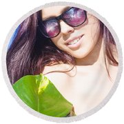 Sexy Beach Girl With Leaf Round Beach Towel