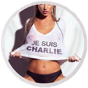 Sexy Young Woman In Wet Je Suis Charlie Shirt Charlie Riina Round Beach Towel