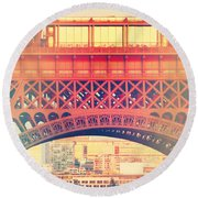 Shabby Chic Eiffel Tower Paris Round Beach Towel