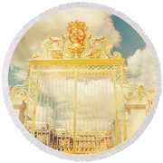 Shabby Chic Gold Gate Versailles Round Beach Towel