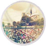 Shabby Chic Love Locks Near Notre Dame Paris Round Beach Towel