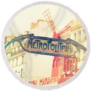 Shabby Chic Moulin Rouge Metro Sign Paris Round Beach Towel