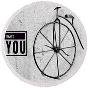 Shabby Chic, Old Bicycle No 01 Round Beach Towel