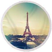Shabby Chic Vintage Style Eiffel Tower Paris Round Beach Towel