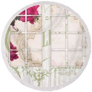 Shabby Cottage French Doors Round Beach Towel