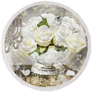 Shabby White Roses With Gold Glitter Round Beach Towel