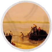 Shad Fishing At Gloucester On The Delaware River 1881 Round Beach Towel