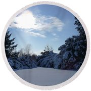 Shades Of Blue In Winter Round Beach Towel