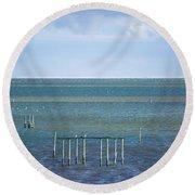 Shades Of Blue On The Horizon Round Beach Towel