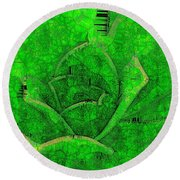 Shades Of Green Stained Glass Round Beach Towel