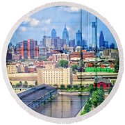 Shades Of Philadelphia Round Beach Towel
