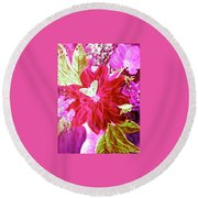 Shades Of Pink Flowers Round Beach Towel