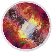 Shades Of Red Abstract Round Beach Towel