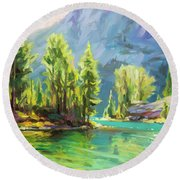 Shades Of Turquoise Round Beach Towel
