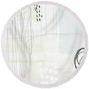 Shades Of White 1 - Art By Linda Woods Round Beach Towel by Linda Woods