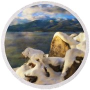 Shadow And Snow Round Beach Towel