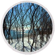 Shadow Branches Round Beach Towel