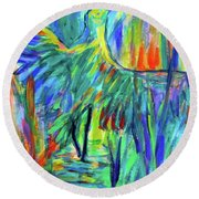 Shadow Heron Round Beach Towel