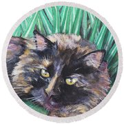 Shadow In The Grass Round Beach Towel