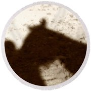 Shadow Of Horse And Girl Round Beach Towel