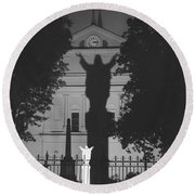 Shadow Of Jesus Round Beach Towel