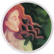Shadow Of Medusa Round Beach Towel