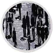 Shadow Of Peoples Round Beach Towel